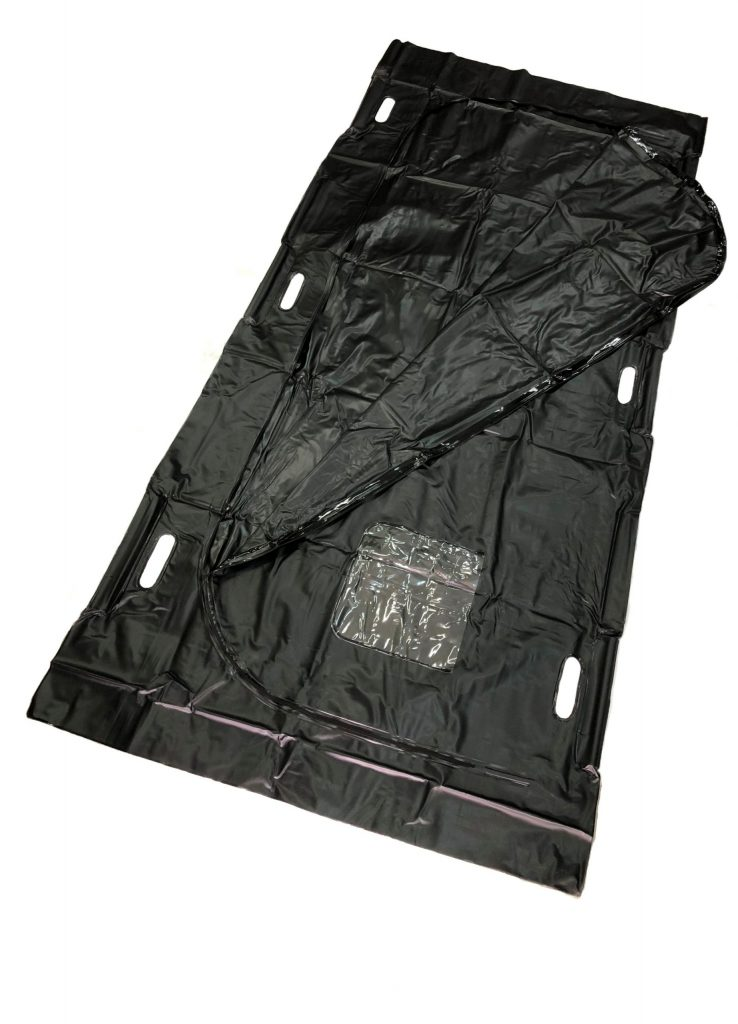 Black PVC U-Shape Zipper Closure Body Bag